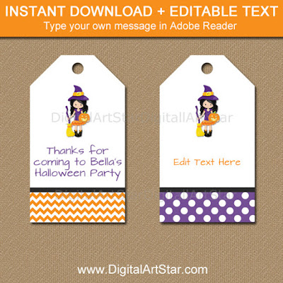 Editable Halloween Witch Hang Tags