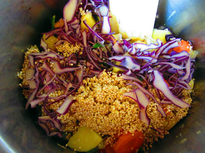 Quinoa and peanut soup by Laka kuharica: add quinoa and red cabbage.