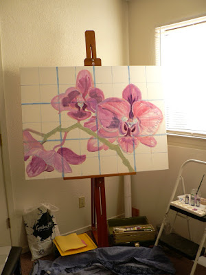 "36"" x 48"" canvas on easel with grid and orchid sketch, photo ©2017 Tina M.Welter"