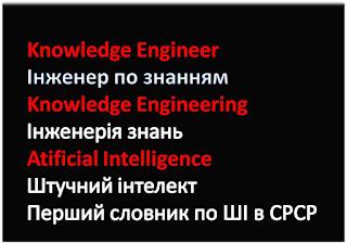 Knowledge Engineer  Інженер по знанням Knowledge Engineering  Інженерія знань  Atificial Intelligence Штучний інтелект Перший словник по ШІ в СРСР