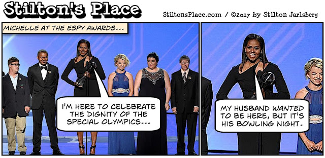 stilton's place, stilton, political, humor, conservative, cartoons, jokes, hope n' change, special olympics, bowling, obama, espy awards