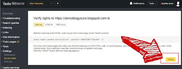 Submit Sitemap On Yandex