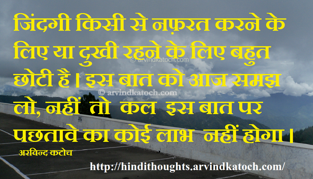 Hindi Thought Hd Picture Message On Life Is Too Short जदग