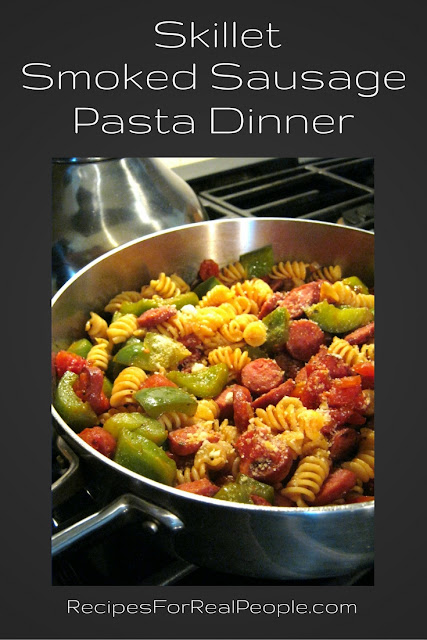 If you love skillet meals that go together easily, cook up quickly, and satisfy a hungry family, try this Skillet Smoked Sausage Pasta Dinner.