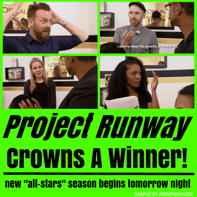 Lifetime's Project Runway Season 12 finalists Bradon McDonald, Justin LeBlanc, Alexandria von Bromssen, and winner Dom Streater.
