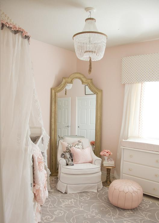 blush pink and gold girl's nursery idea