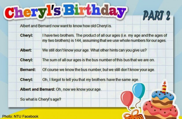 Part 2: What's Cheryl's age?