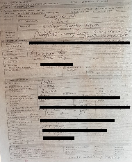 screenshot photo of dti form