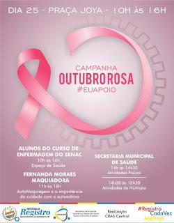 Ação Outubro Rosa acontece nesta quinta-feira, 25/10, em Registro-SP