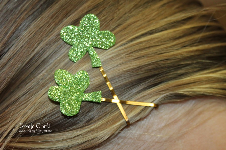 Four Leaf Clover Glitter Pigtail Set LUCKY CHARM