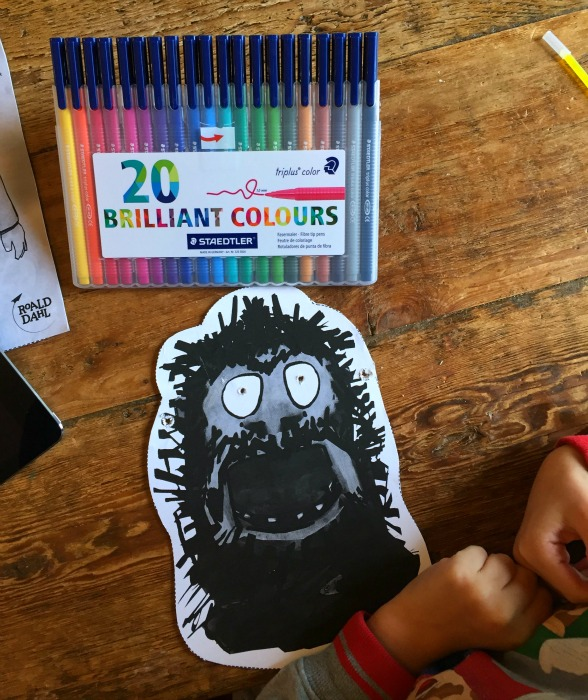 Roald Dahl's House of Twits App Now Available | Morgan's Milieu: The Mr Twit mask was a big hit, LP couldn't wait to colour it in.