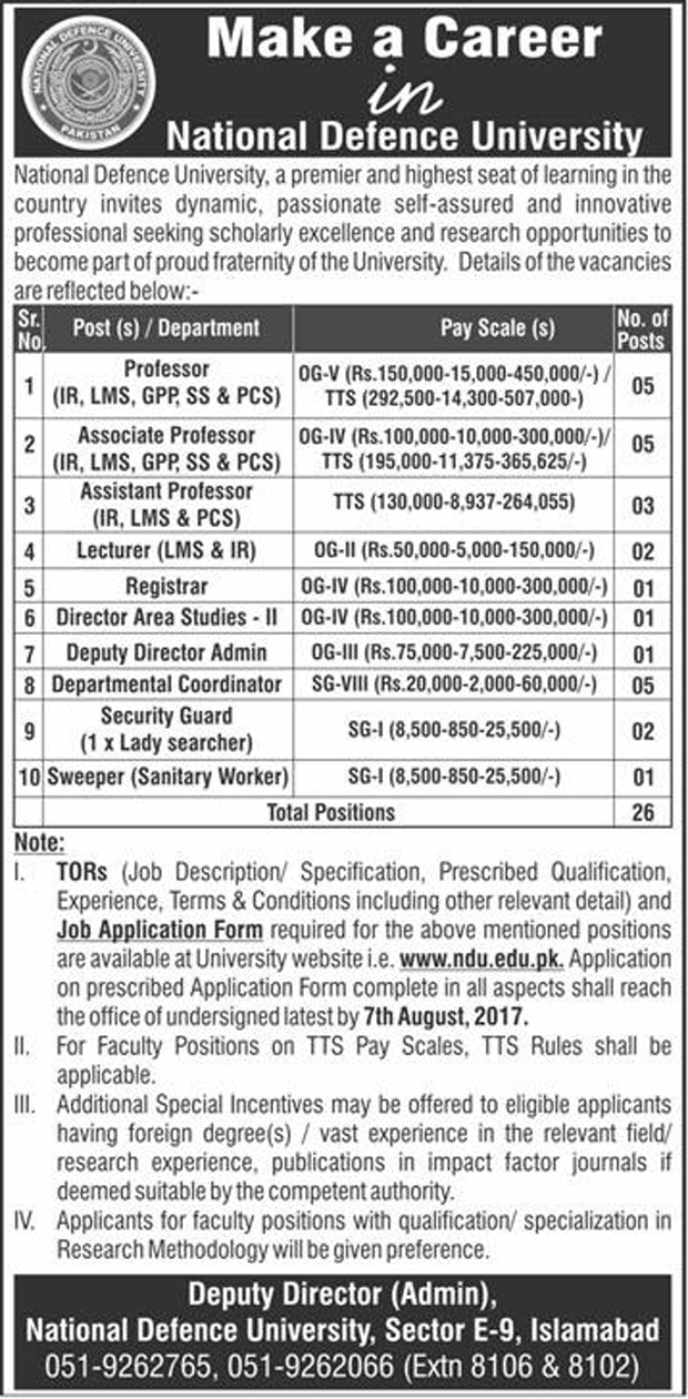 Faculty Staff Required In National Defence University Islamabad Jul 2017