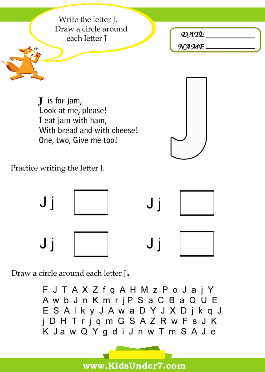 Workbooks to too and two worksheets : Kids Under 7: Letter J Worksheets