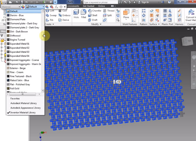 How to use the 3D Patterns in the Autodesk Inventor 2013  | Drawing