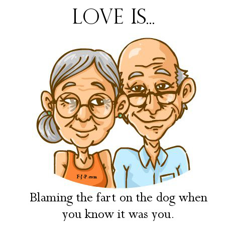 Funny Old Couple Love Is Cartoon Joke Picture