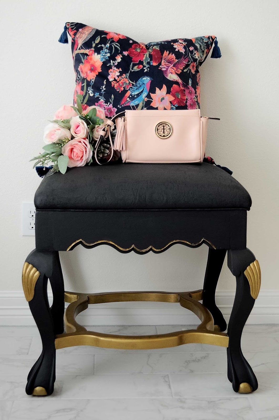 Makeover a thrifted ottoman by painting the fabric and wood using Velvet Finishes paint. What a great DIY tutorial!