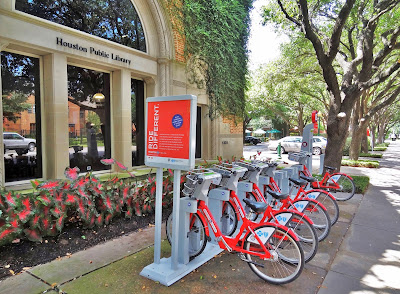 B-Cycle rental station at Montrose Library