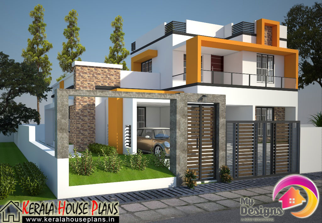 Kerala contemporary house design in 1830 kerala for Modern style house plans