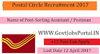 Postal Circle Recruitment 2017–Postal /Sorting Assistant, Postman & MTS