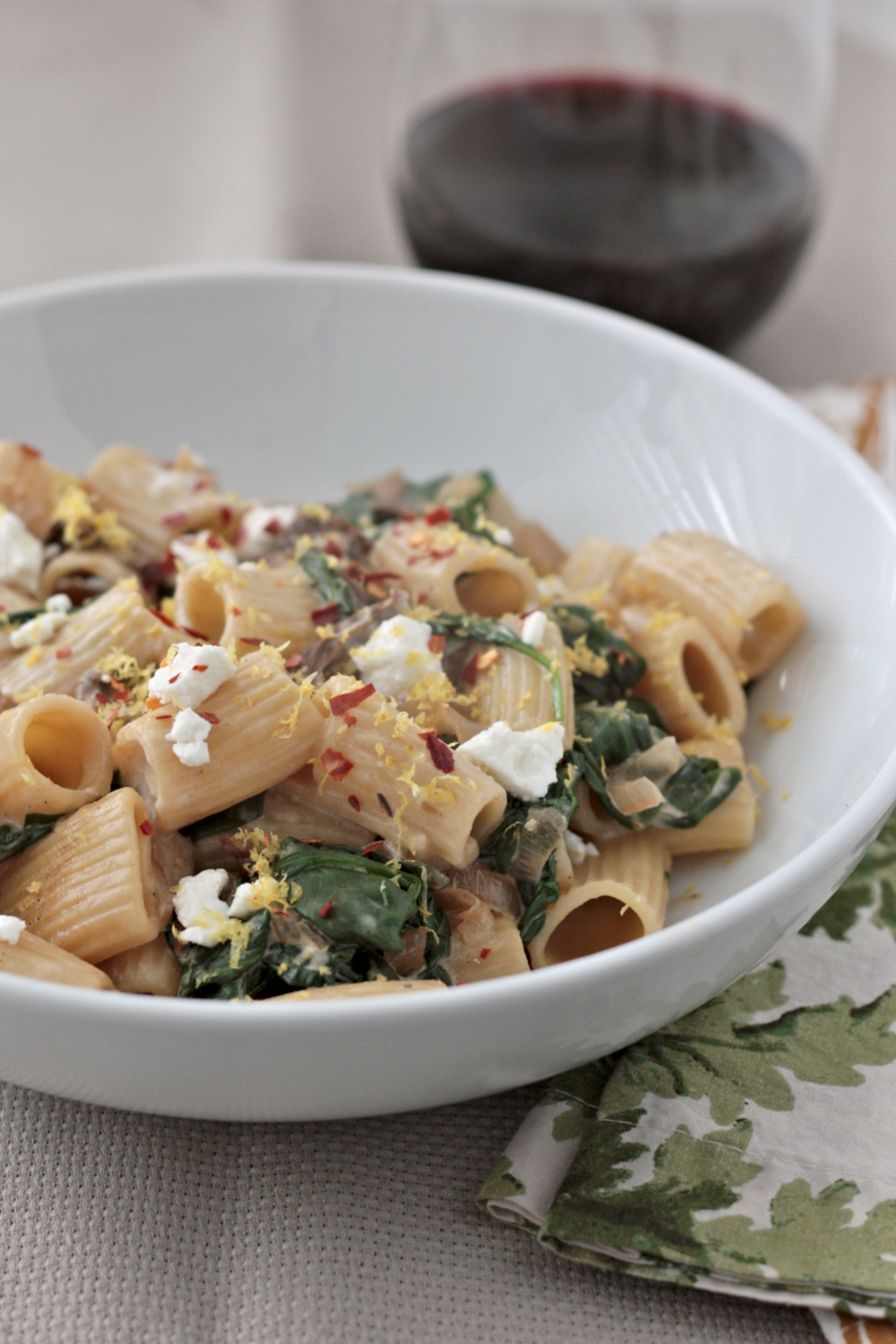 spinach goat cheese rigatoni