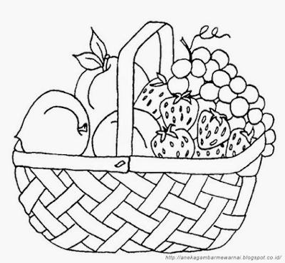 Gambar Mewarnai Buah-buahan Dalam Keranjang (1)