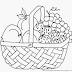 Gambar Mewarnai Buah-buahan Dalam Keranjang Untuk Anak PAUD dan TK