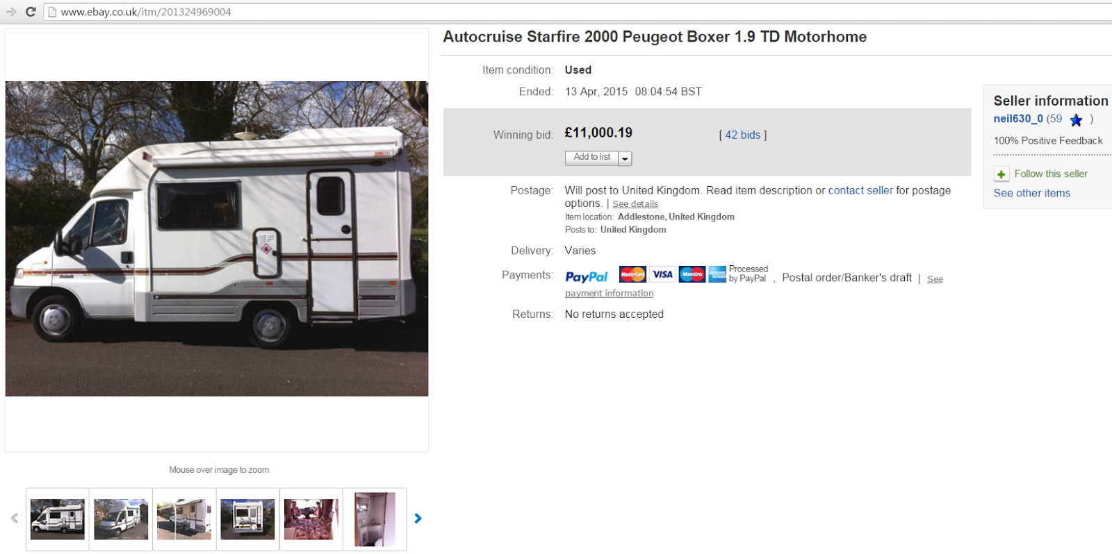 ebay scam : 2000 peugeot boxer 1.9 td motorhome autocruise