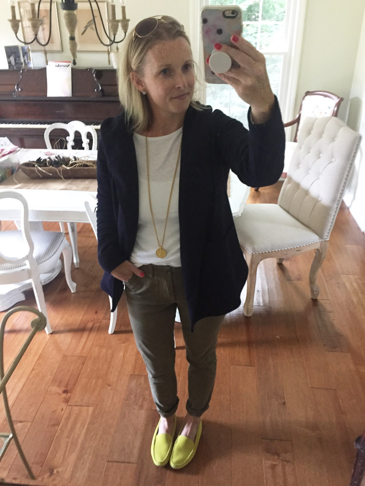 olive pants with navy hoodie outfit