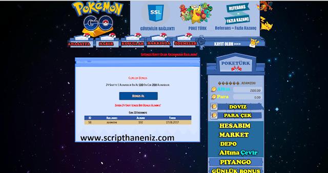 Pokemon Çiftligi Günlük Bonus Sayfası