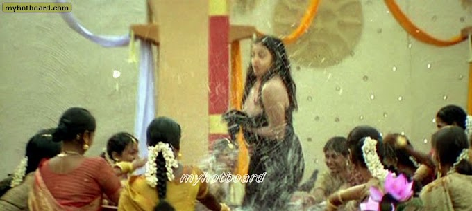 Jyothika full boobs black nipples show wet dress slip unseen pics at Tamil movie hot song  Opps Movement