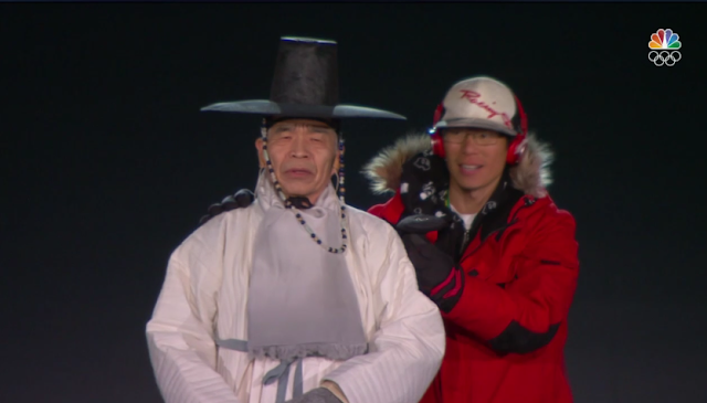 PyeongChang 2018 Winter Olympics Opening Ceremony trespasser on stage red hat Cappy evil intruder
