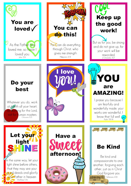 Encouraging and inspirational. FREE printables for kids. Lunch box notes and cards.