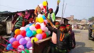 students-celebrate-sarswatipuja-madhubani