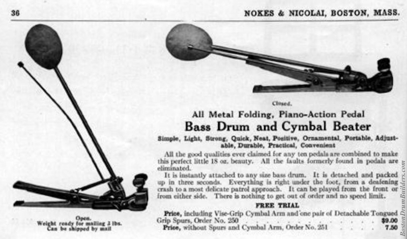 Nokes & Nicolai Bass Drum Pedal from Catalog 6, circa 1918