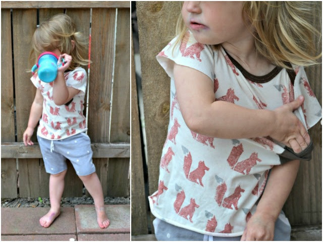 Sewing for Girls - Fox tee and polka dot shorts