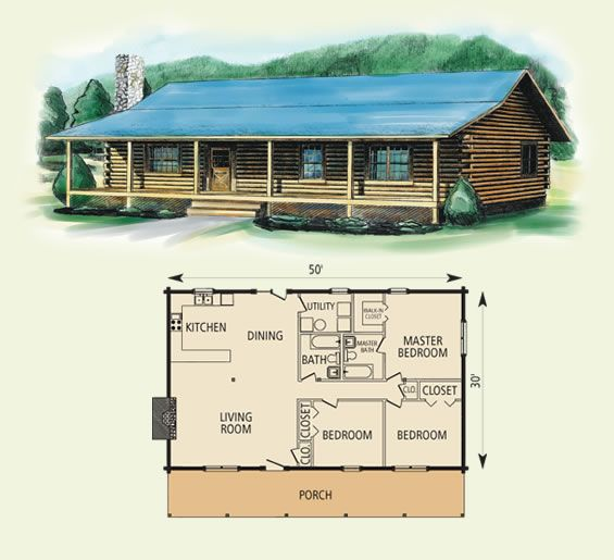 50ft x 30ft Log Cabin Floor Plan