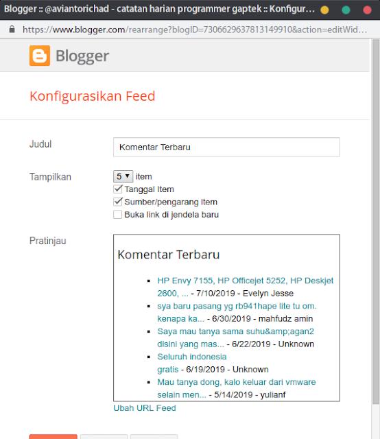 konfigurasi feed blogger