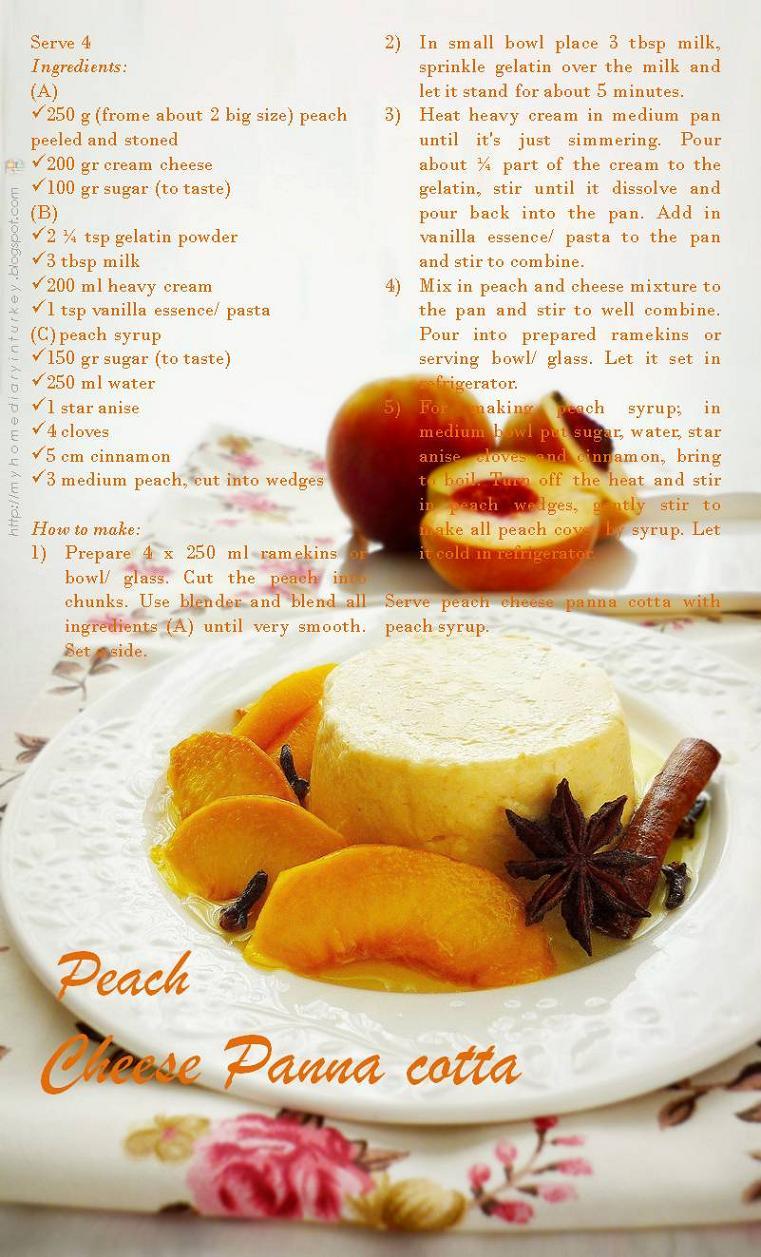 Peach Cheese Panna Cotta | Çitra's Home Diary. #pannacotta #peachcompote #dessertpeach #peach #pudding #creamysweets