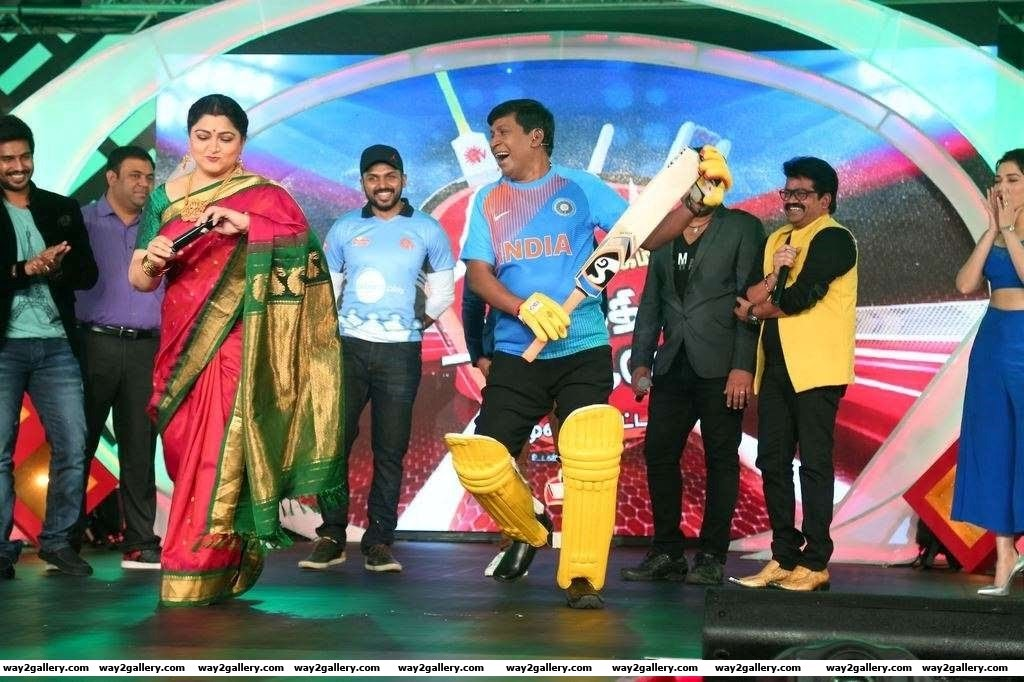 Khushbu Sundar and Vadivelu were among the celebrities at the launch of Natchathira cricket teams
