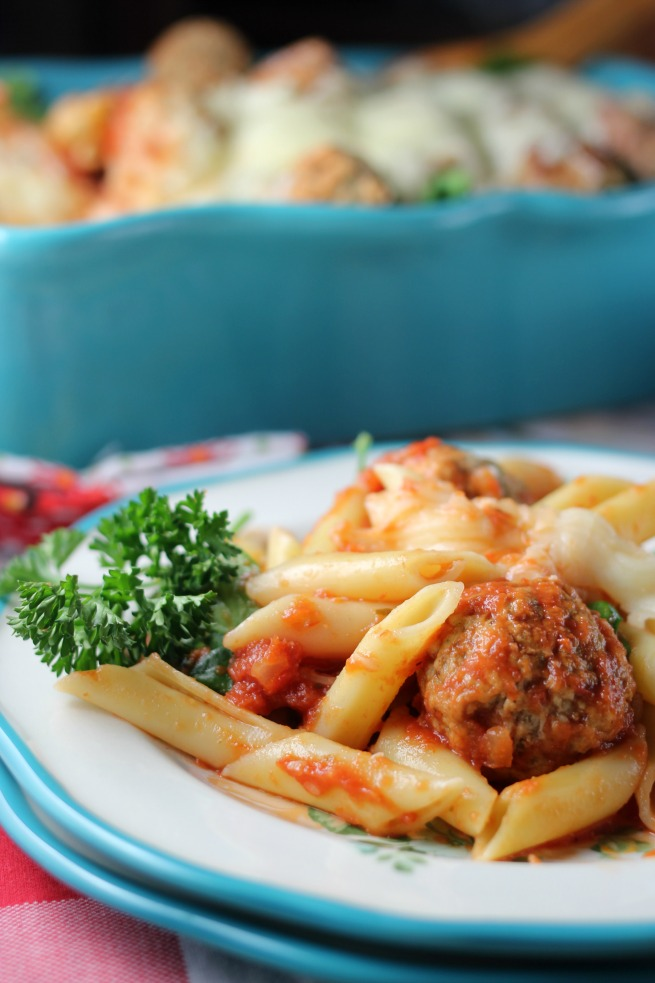 Close up of Baked Mostaccioli with Turkey Ricotta Meatballs
