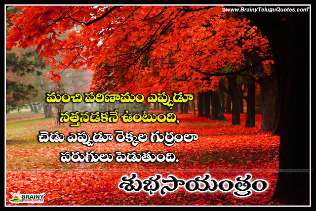 Here is a Nice Telugu Good Evening Words and Quotes in Telugu Language, Popular Telugu Language Good Evening Picture Messages Images,New and Latest Telugu Language Best Goal Setting Quotations with Happy evening Messages online, Top 10 Telugu Good Evening Quotes on Images, Best Telugu Good Evening Pics for Love, Telugu Daily Good Evening Quotes and Messages, Good Evening Messages in Telugu, Subha Sayantram Telugu Kavithalu, Inspiring Words in Telugu.