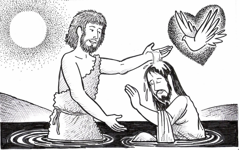 Imagenes Cristianas Para Colorear: Bautismo De Jesus Para