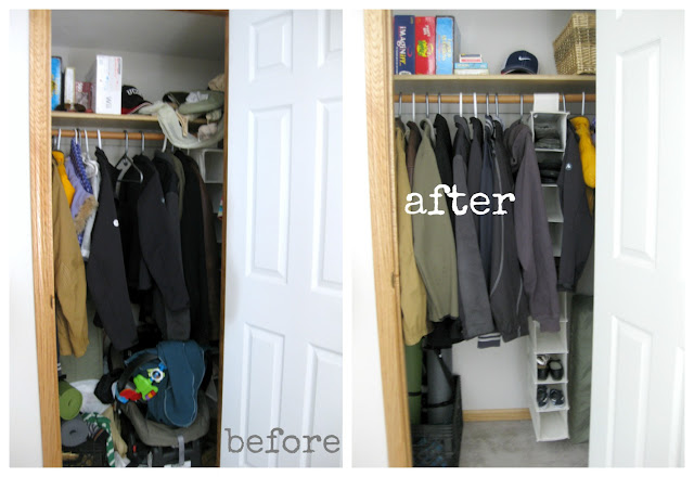 before and after organizing coat closet