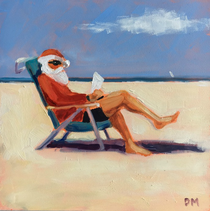 painting of Santa Claus at the beach reading, santa at the beach painting