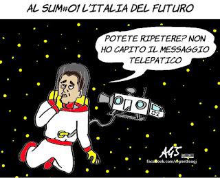 sum01, casaleggio, m5s, di maio, futuro dell'Italia, vignetta, satira