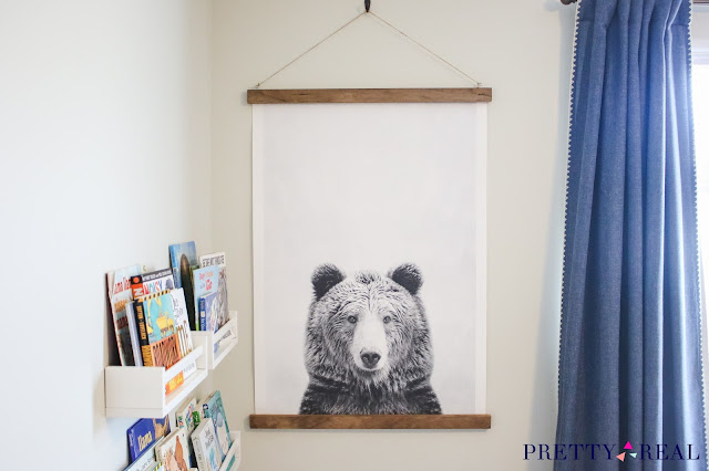 DIY Canvas wall hanging as large statement art in a kid's room