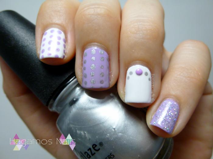 hagamos nails nail art lila y blanco con puntos retopuntosmvn. Black Bedroom Furniture Sets. Home Design Ideas