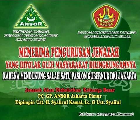 Ansor Jakarta Timur Buka Layanan Urus Jenazah yang Ditolak Karena Dukung AHOK