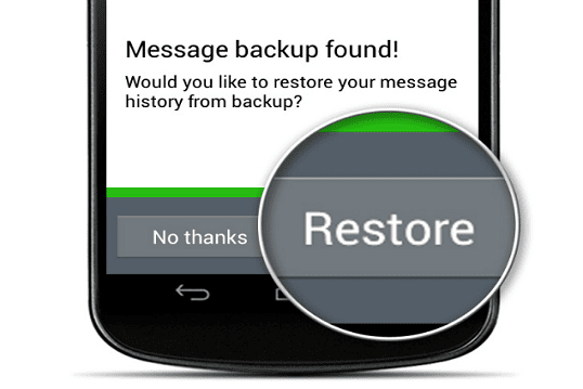 Restore WhatsApp backup without uninstalling