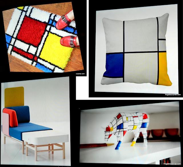 Peças de decoração com design inspirado em Mondrian